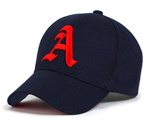 4sold - Gorra de béisbol unisex con letra A de estilo gótico A nave blue red