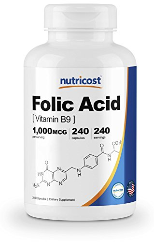 Nutricost Folic Acid (Vitamin B9) 1000 mcg, 240 Capsules (Supplements Folic Acid)