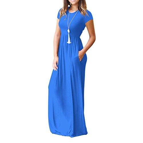LILICAT® Largo Mezcla Vestidos de Corta Algodón Básicas Moda Mujer de Alta Con O Maxi de Manga Vestido Noche Azul De Cuello Verano Casual de Cintura Bolsillos Vestido Fiesta SZw5Srq