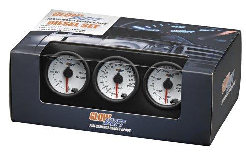 GlowShift White 7 Color Series Diesel Gauge Set Boost, Pyrometer, Trans Temp