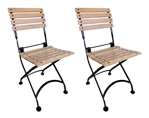 Mobel Designhaus French Café Bistro Folding Side Chair, Jet Black Frame, European Chestnut Wood Slats (Pack of 2) ()