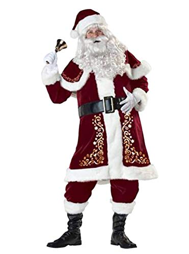 Men's Xmas Santa Cluas Costume Luxurious Adult Velvet Christmas Outfit 8pcs Sets. (M, Santa Cluas) (Santa Suit Regency)