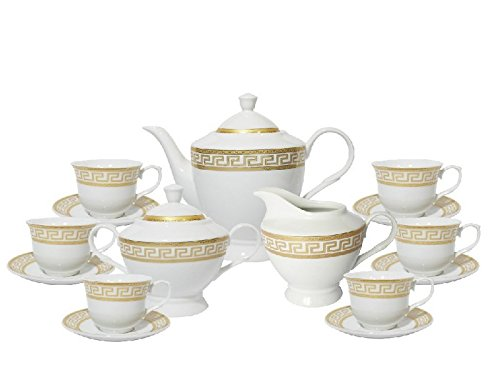 Imperial Gift G1347B-17 17 Piece Greek Key Tea Set, Gold