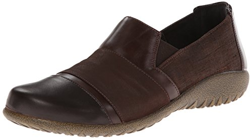 Naot Women's Miro Flat Mine Brown Leather/Brown Shimmer Nubuck/Wine Patent Leather