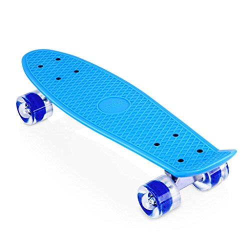 ENKEEO 22 Inch Cruiser Skateboard Plastic Banana Board with Bendable Deck and Smooth PU Casters for Kids Boys Youths Beginners ,Blue