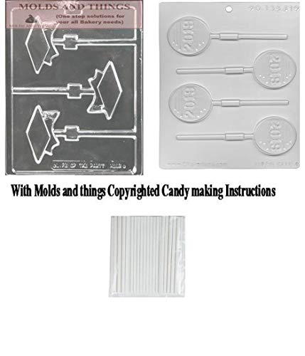 Graduation Candy Molds - Graduation Cap Lolly Chocolate mold with Class of 2019 Chocolate Candy Mold with Copyrighted Molding Instruction