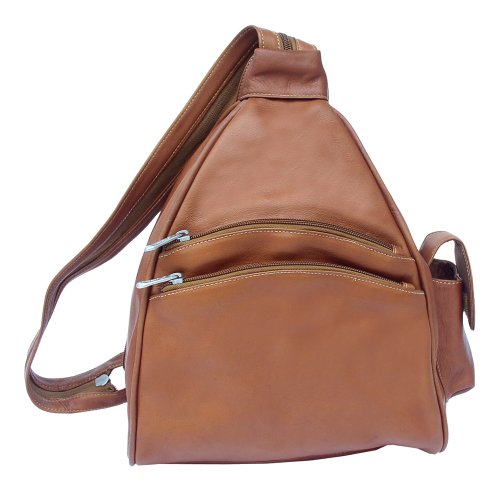Piel Leather Two-Pocket Sling, Saddle, One Size, Bags Central