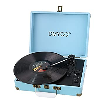 Tocadiscos Vintage,DMYCO Tocadiscos Estéreo, Tocadiscos Vinilo, 3 Velocidades con Altavoces Incorporados, Graba de Vinilo a MP3, Carcasa Protectora, ...