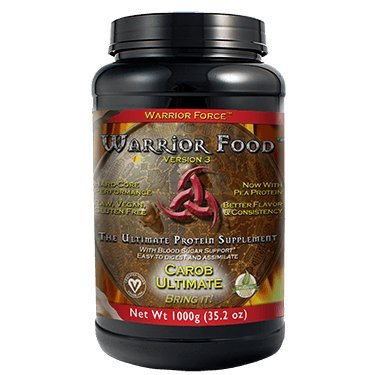 HealthForce SuperFoods Warrior Food - 1000 Grams, Carob Flavor - All Natural Plant Based Protein Powder, Easy to Digest - Organic, Non GMO, Vegan, Gluten Free - 50 Servings