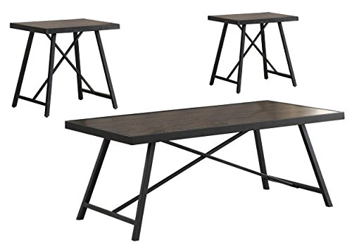 Homelegance Seward 3 Piece Occasional Table Set, Brown/Black