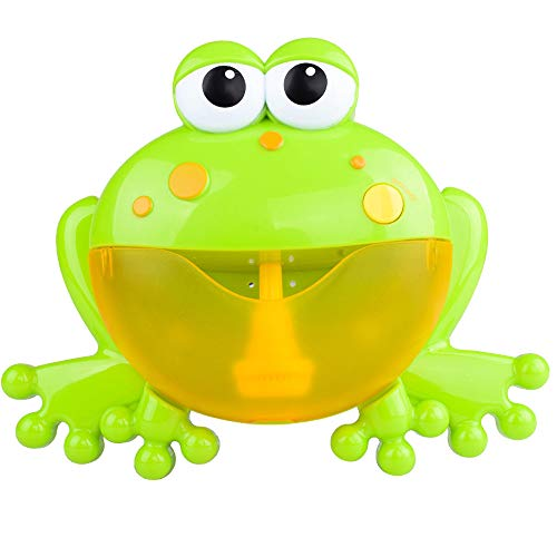 Bath Toys Baby Bath Bubble Toy Frog Bubble Blower Cute Bubble Machine Bubble Maker with Nursery Rhyme Music Bathtub Bubble Toys Kids Children Happy Tub Time 12 Music Song (Green)
