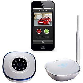 open garage door with phoneAsante Garage Door Opener with Camera Kit remotely open and close