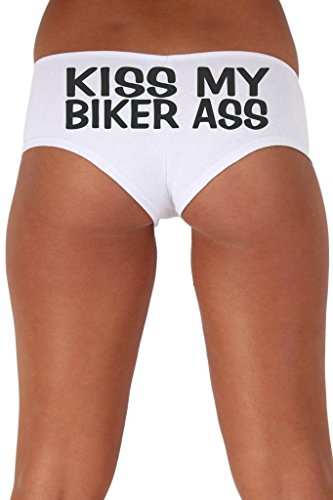 [Women's Juniors Black Kiss My Biker As Booty Shorts: WHITE LARGE] (Biker Babe Costume)