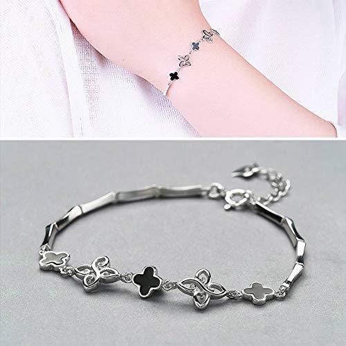 SHOUSHI Women's Fashion Ol Plating Bracelet S925 Silver Bracelet Women Fashion Joker Clover Drops Bracelet, White