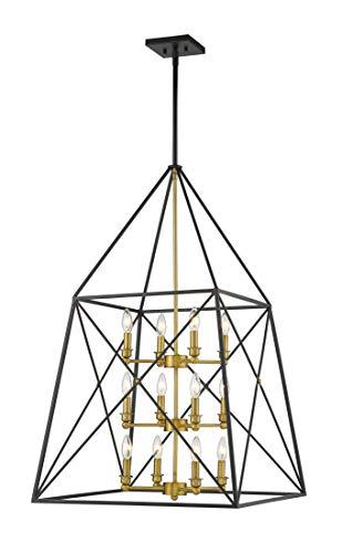 Z-Lite 447-12MB-OBR Trestle 12 Light 24 inch Matte Black and Olde Brass Chandelier Ceiling Light (Olde Brass Chandelier)