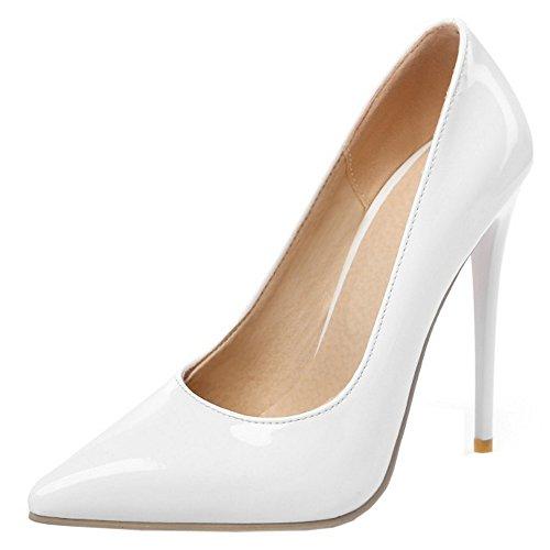 TAOFFEN Women Fashion Elegant Stiletto Slip On Pointed Toe Party Dress Court Shoes SM White