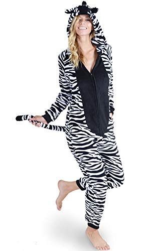Unisex Adult Pajama Plush Zebra Animal Onesie