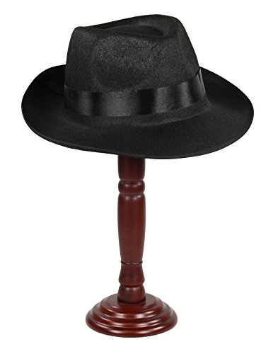 Largemouth Gangster Fedora Hat Black (XL (63 (Old Gangster Suits)