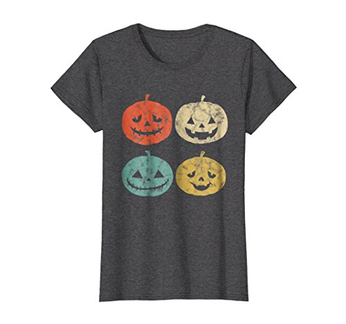 (Womens Vintage Pumpkin T-Shirt Funny Pumpkin Halloween Gift Shirt Large Dark)