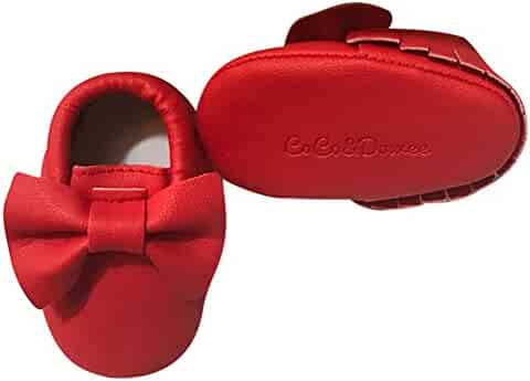 f741e01c91f8 Baby Girls Red Tassel Bow Soft Sole Faux Leather Crib Shoes 3-18M
