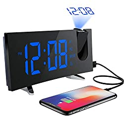 PICTEK Projection Alarm Clock, Alarm Clock with 5-inch Large Curved LED Dimmable Screen, 12/24 Hour Digital Ceiling Clock with FM Radio, Sleep Timer with Dual Alarms (Blue)