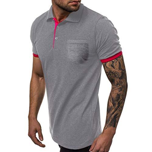 Tie Silk Gambling - Stoota Men's Summer Sport Patchwork Slim Short Sleeve mit Pockets T-Shirt-Top Dark Gray