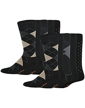 Men's Classics Dress Argyle Crew Socks, 10 Pair