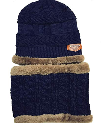 (Kids Knitted Hat and Scarf Set Winter Fleece Lining Wool Beanie Hat Neck Warmers (Navy))