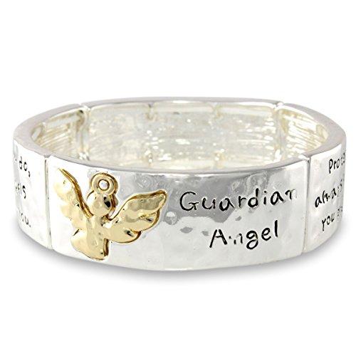 Hammered Finish Two Tone Guardian Angel Prayer Script Cuff Stretch Bracelet