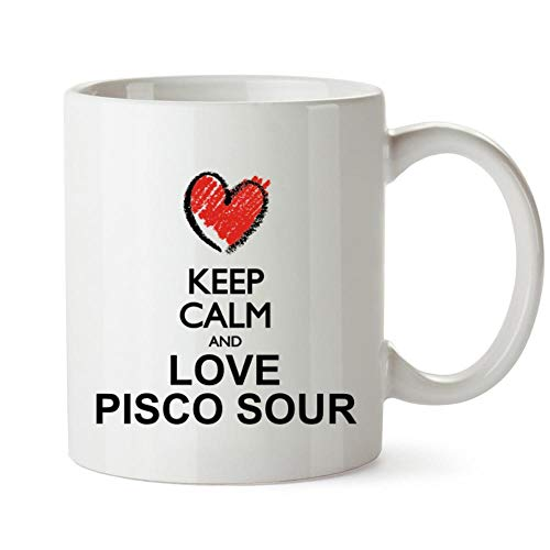 (Idakoos Keep calm and love Pisco Sour chalk style Mug 11 ounces)