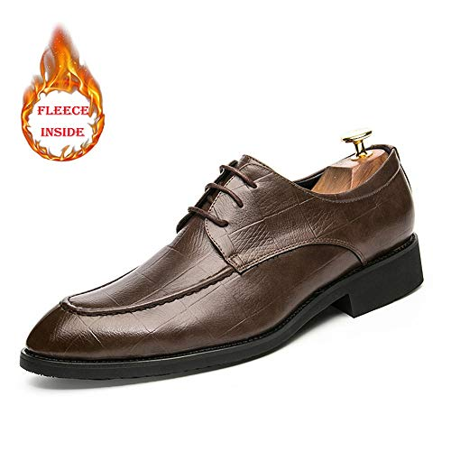 Inside Chaussures Oxford Confortables Cuir Faux Option Pour D'affaires Grid Eu Color Et En Brown Hommes Taille 43 Warm Basses Lines Fleece Marron conventionnel Mode Sn8wrSAPX