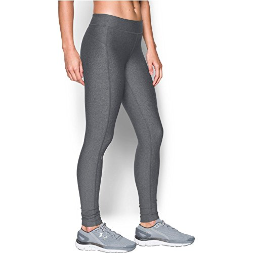 Under Armour Womens HeatGear Armour Legging, Carbon Heather/Metallic Silver, X-Small