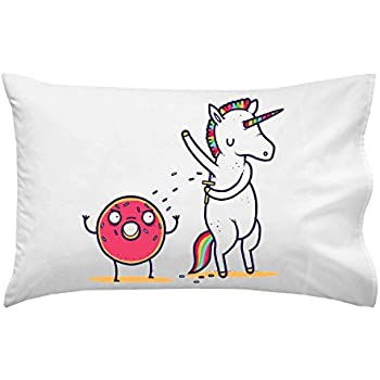 Hat Shark How Donuts Get Sprinkles Funny Unicorn Shaving Armpits onto Doughnut - Pillow Case Single Pillowcase