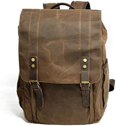 Color : Coffee, Size : 15 inches XIAOF-FEN Waterproof Waxing SLR Camera Canvas Backpack Large Capacity Travel Camera Backpack Men Bags