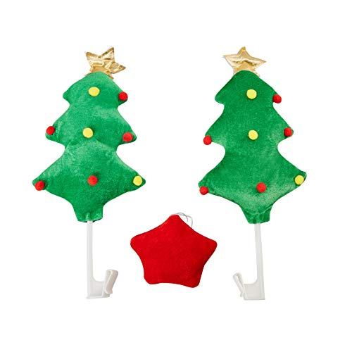 Juvale Christmas Tree Car Decoration Kit - 3-Piece Plush Green Pine Tree Red Star Vehicle Funny Costume Accessory Set, Holiday Festive Gag Gift, White Elephant Gift, Fun Car Dress Up
