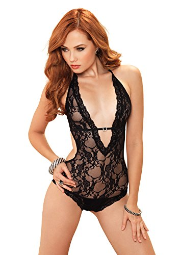 Leg Avenue Women's Stretch Lace Deep-V Halter Teddy with Faux Rhinestone Buckle Accent, Black, One (Leg Avenue Faux Rhinestone)