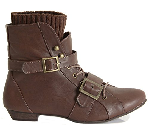 WOMENS LADIES FLAT LOW HEEL LACE UP PIXIE ANKLE BOOTS SHOES SIZE Style 4 - Brown