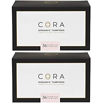 Cora Organic Cotton Tampons with BPA-Free Plastic Compact Applicator; Chlorine & Toxin Free - Super Plus (72 Count)