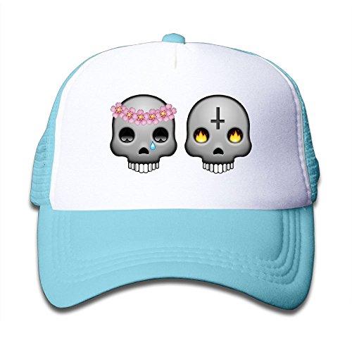 Wholesale DNUPUP Kid's Flower Fire Skull Adjustable Casual Cool Baseball Cap Mesh Hat Trucker Caps hot sale