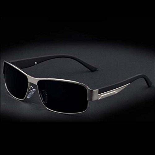 Gafas de Bloqueador plata Gafas Hombre de Marco Lente Lentes Solar Sol de polarizadas Conducción Sol Retro de de Metal Gafas Las marco fish Protección de de de UV BgCPqP