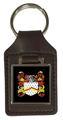 Maling Family Crest Surname Coat Of Arms Brown Leather Keyring Engraved