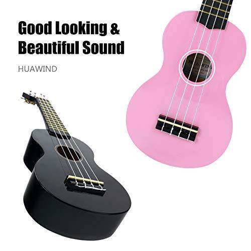 HUAWIND 21 Inch Soprano Ukulele for Beginners, 2 Ukuleles for kids Four String Wood Kid Guitar with Gig Bag (Pink and Black)