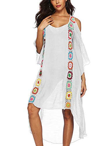 Women Casual Cold Shoulder Beach Dress Sexy Bikini Bathing Suit Cover Up White