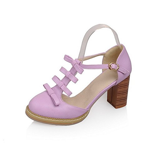 Round Women's Buckle Solid Purple Heels Pumps Toe Shoes WeenFashion Pu High qYfwgHHx