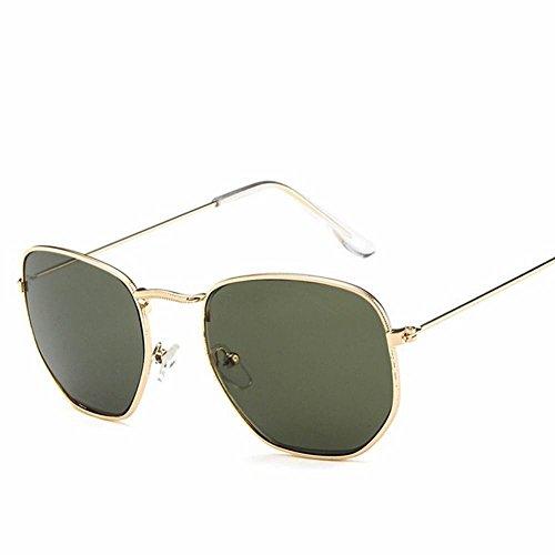 Sol Verde wei Un Sol Oscuro de de y Moda Verde cuadradas Gafas Femenina de Metal de Masculina Tamaño oscuro Gafas AqqRUf