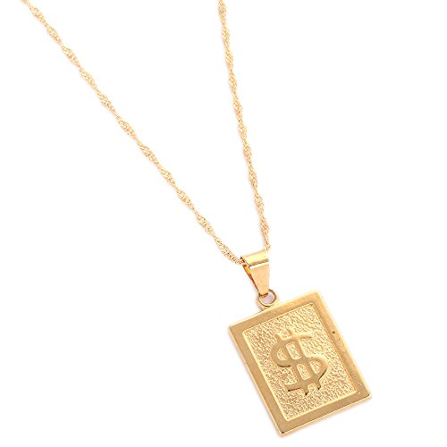 18K Gold Plated United States Dollar Money Sign Pendant Necklace (Rectangle ()