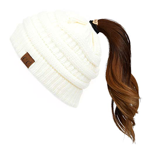 Hatsandscarf CC Exclusives Solid Color Beanie Tail Hat for Adult MB20A Ivory