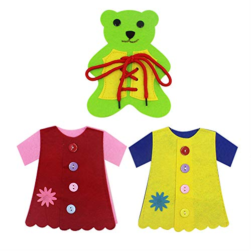 (Pack of 3) Baby Cloth Learn to Dress Toy - Button, Lace & Tie, Lacing Toy Fine Motor Skills Toys, Learning Basic Life Skills Toy,Baby Early Development Toys, Random Color
