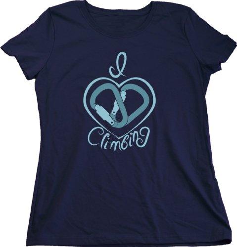 I Heart Climbing (Carabiner) | Rock Climber Humor Ladies Cut T-shirt Funny Rock Climbing Shirt