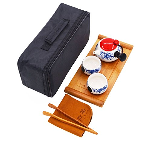 Vegali 100%Handmade Porcelain Chinese Classic Gongfu Kungfu Portable Travel TeaSets;Porcelain Teapot & Teacups & Bamboo Tea Tray with a Portable Travel Bag(V3) (White-Red)